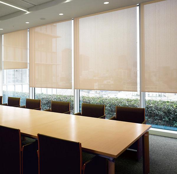 ロールスクリーン ニチベイ 綾織りミディアム ロールカーテン 幅81~120cm×丈351~400cm