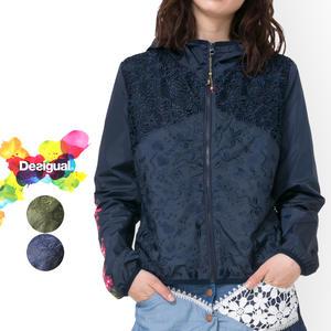当季大流行 desigual レディース 春夏ブルゾン 薄手 ジャケット カジュアル ミセス ファッション 30代 40代 ネイビー【送料無料】【大きいサイズ】
