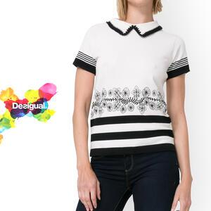 desigual 半袖ニット Tシャツ トップス 春物 レディース 女性 大人 ミセスファッション おしゃれ カジュアル 30代 40代 50代 白黒【送料無料】【大きいサイズ】