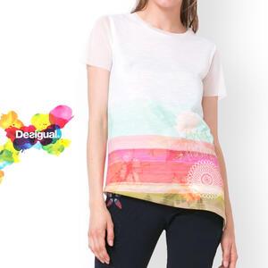 desigual 半袖カットソー Tシャツ 春物 夏物 レディース 女性 大人 ミセスファッション おしゃれ カジュアル 30代 40代 50代 ホワイト【大きいサイズ】