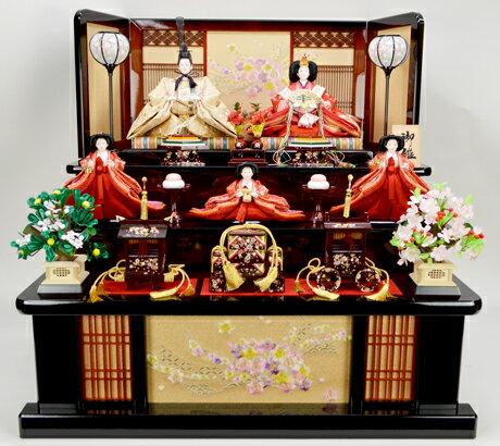 【送料無料】ひな人形【北寿監修】京十番親王 五人飾り45ST1322B 和風リボン桜