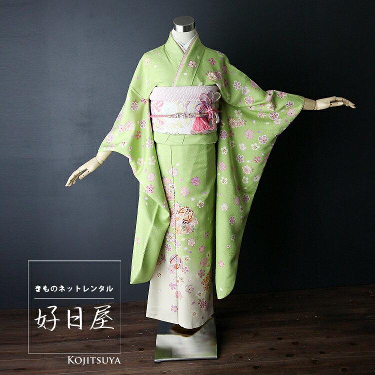 振袖 レンタル 結婚式 成人式 結納 緑 着物 セット 正絹 フルセット gr-005