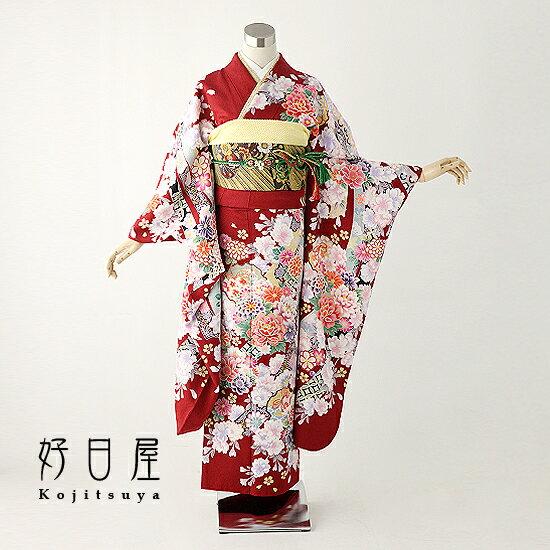 振袖 レンタル 結婚式 成人式 結納 赤 着物 セット 正絹 フルセット re-018