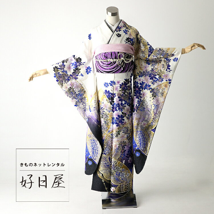 振袖 レンタル 結婚式 成人式 結納 卒業式 白 着物 セット 正絹 フルセット wh-025 【fy16REN07】