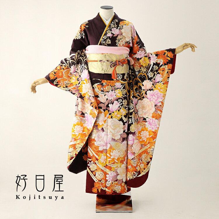 振袖 レンタル 結婚式 成人式 結納 卒業式 茶 着物 セット 正絹 フルセット br-011 【fy16REN07】