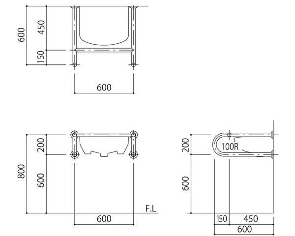 バリアフリー手摺 洗面・手洗器用(樹脂被覆)標準取付タイプ(B・D・G)グリーン SK-257S-RJ【神栄ホームクリエイト】