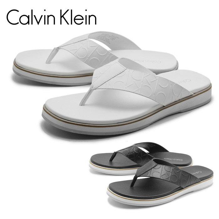 [エントリーでポイント最大10倍] カルバン クライン Calvin Klein メンズ サンダル DEANO CK EMBOSS LEATHERホワイト ブラック 白 黒 ビーチサンダル レザー カジュアル 男性Calvin Klein 34F1765 WHT BLK 送料無料