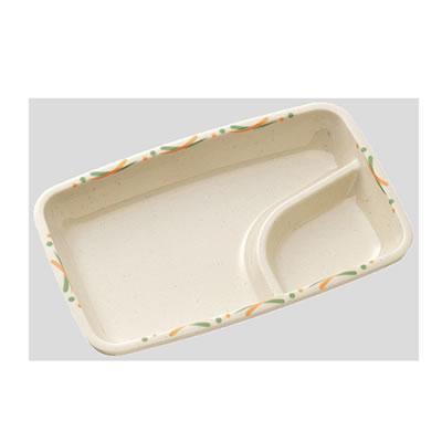 【Daiwa|プラスチック食器|メラミン製|業務用食器|社員食堂|学食|飲食店】【10個セット/10個以上端数注文可】仕切付角皿 プレアリー(192×124×H32mm) (台和)[YH-601-PU]