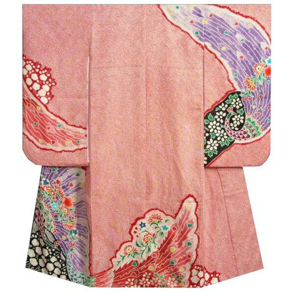 七五三着物7歳 正絹 女の子四つ身着物 赤色 総本絞り 手描き 孔雀文様 金彩使い 日本製