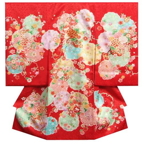 �宮�り �物 女�� 正絹�� 女��用産� 赤色四色染�分� 花車 金糸刺�使� 桜地紋生地