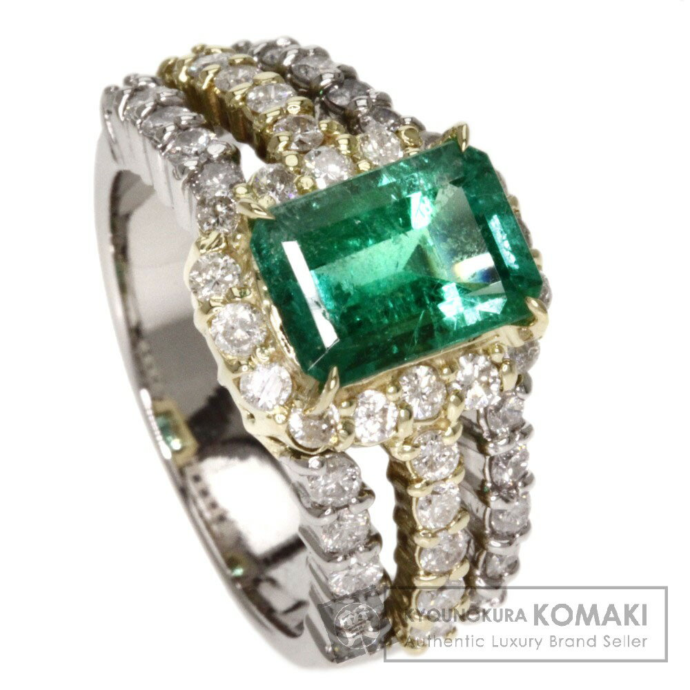 1.6ct エメラルド/ダイヤモンド リング・指輪 プラチナPT900/K18YG 9.6g レディース 【中古】