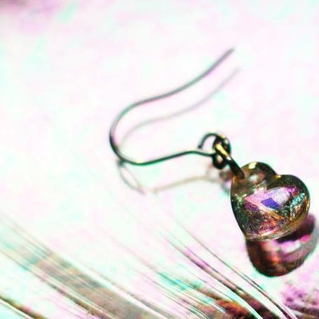 『Petit brightness heart』 ガラスアクセサリー ピアス・イヤリング