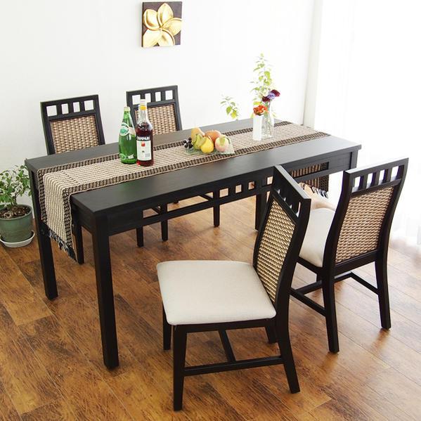 【あす楽】アジアン家具 ダイニングセット ダイニングテーブルセット ダイニング5点セット ラタン 籐家具 バリ モダン 椅子 ラタン 木製 アジアン家具 T570AT1C307AT4S