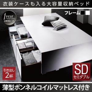 衣装ケースも入る大容量デザイン収納ベッド SCHNEE シュネー 薄型ボンネルコイルマットレス付き 引出し2杯 セミダブル