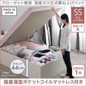クローゼット感覚ガス圧式跳ね上げベッド aimable エマーブル 国産薄型ポケットコイルマットレス付き 縦開き セミシングル ショート丈 深さグランド(代引不可)