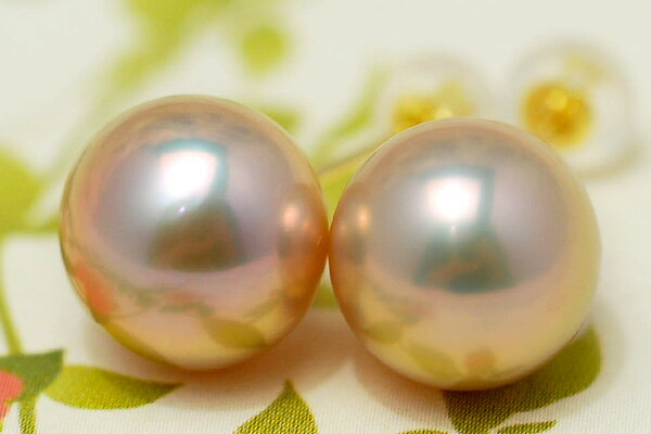 K18YG特級10mm淡水真珠ピアス/イヤリング メタリックな輝きの極上大珠真珠は人目を引く存在感!