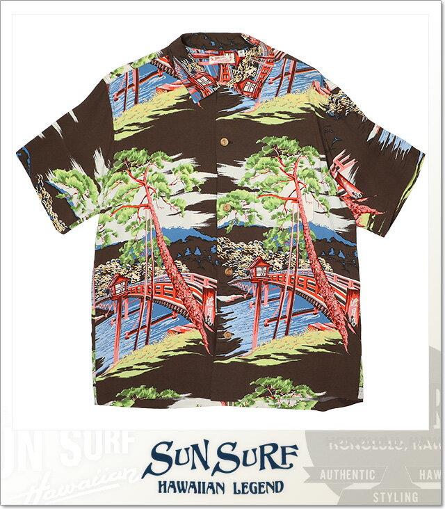 全国配送無料 (サンサーフ) SUN SURF TOGETU BRIDGE ALOHA SHIRT (SS:SHIRT)(SS32161-BR) シャツ 半袖 ボタン