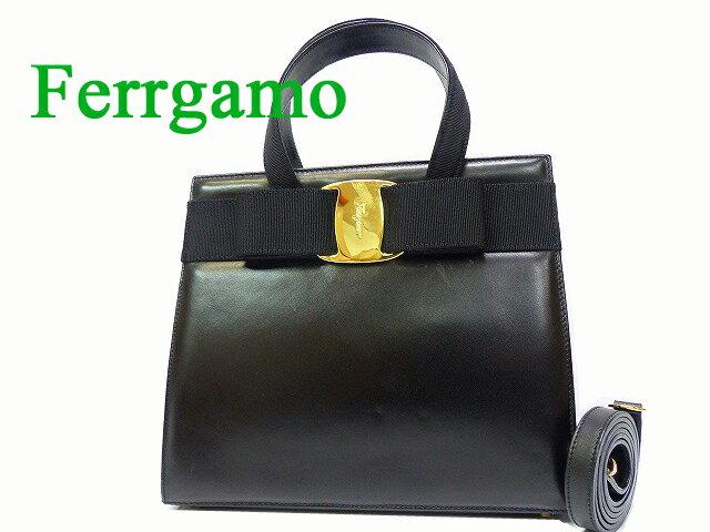 フェラガモ ヴァラ ショルダー 2way ハンド バッグ 鞄 黒0079【中古】Ferragamo ブラック