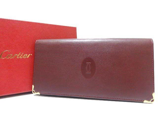 美品 カルティエ マスト 2つ折り長財布 札入れ ボルドー 0042【中古】Cartier