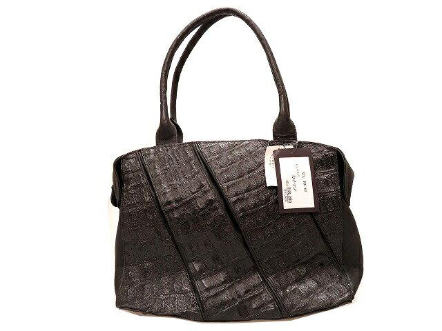 カイマンクロコ ハンド バッグ 黒 鞄 ブラック 0315【中古】