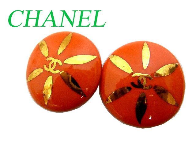 Rシャネル CHANEL ストーン ココマーク イヤリング 小物0293【中古】ヴィンテージ オレンジ