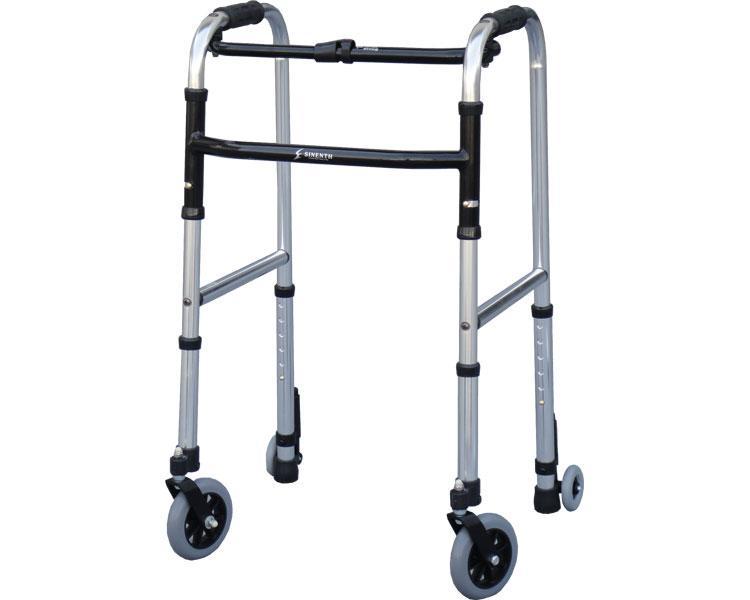 四輪歩行器 スリムフレームウォーカー・キャスターモデル / WFS-4968SW5GW3 シンエンス 四輪歩行器(介護用品 歩行器 介護 高齢者 歩行器)
