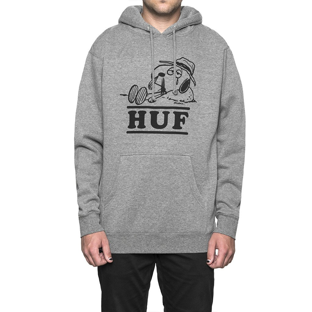 HUF X SPIKE NEEDLES PULLOVER HOOD GREY HEATHERハフ スケートボード  スヌービー
