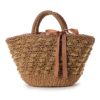 カカトゥ kakatoo エコファーフラップ付きリボン通しかごバッグ (キャメル)