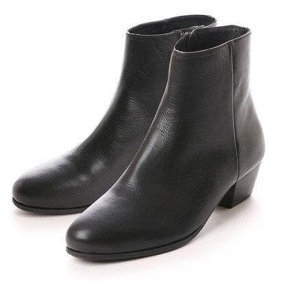 キスコ KISCO 【牛革】ファスナー式ショートブーツ (ブラック)