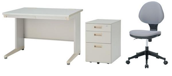 デスク チェア ワゴンセット 平机 W1000mm 幅100cm ワークデスク 事務用 学習机 書斎机 椅子 イス 脇机 サイドテーブル IDH-107CSW2C-1