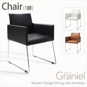 【テーブルなし】チェア【Graniel】ホワイト モダンデザインアームチェア付きダイニング【Graniel】グラニエル チェア1脚【代引不可】