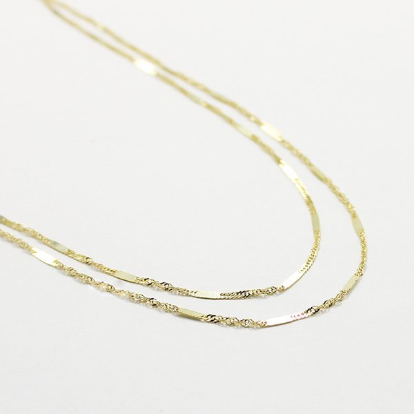10金イエローゴールド 40cm 鏡面 ヘリンボーン スクリュー チェーン コンビ デザイン ネックレス