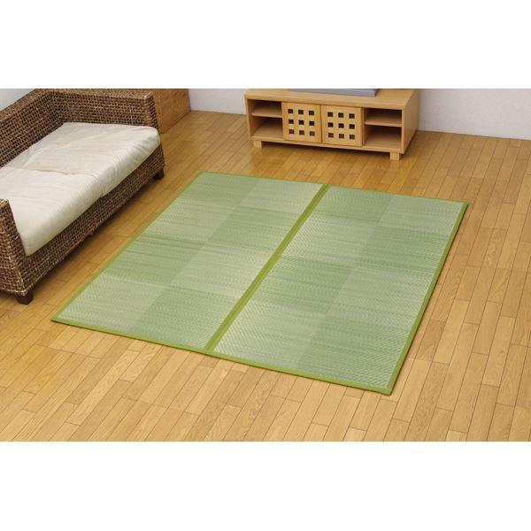 純国産 い草花ござ 『STノア』 グリーン 江戸間6畳(約261×352cm)(裏:ソフトテック15mm)
