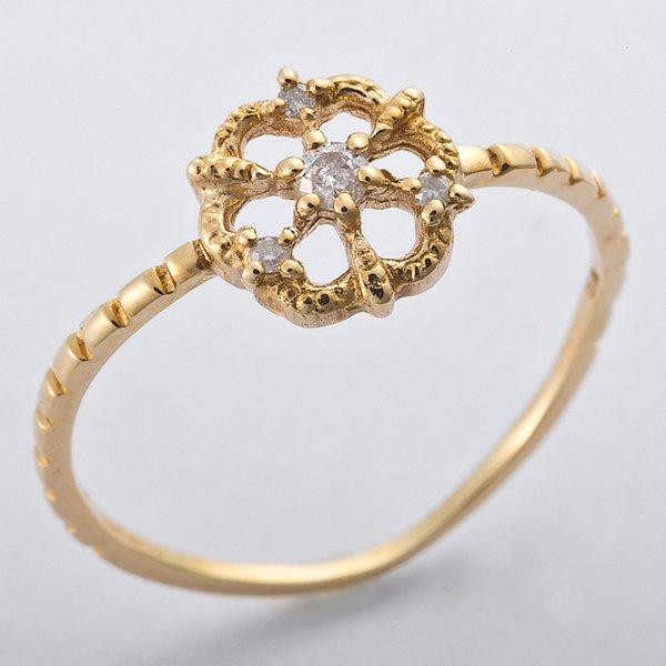K10イエローゴールド 天然ダイヤリング 指輪 ダイヤ0.05ct 10号 アンティーク調 フラワーモチーフ