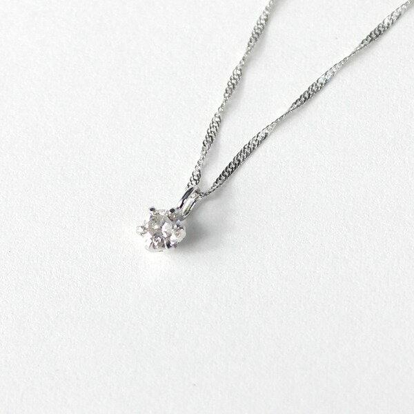 18金 ホワイトゴールド ダイヤモンド 0.1ct ペンダント ネックレス