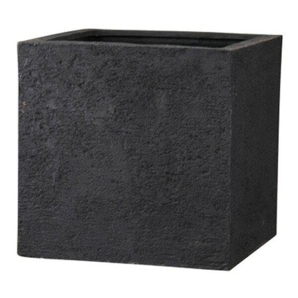 新素材ポリストーンライト リガンデ キューブ 60cm ブラック /樹脂製植木鉢