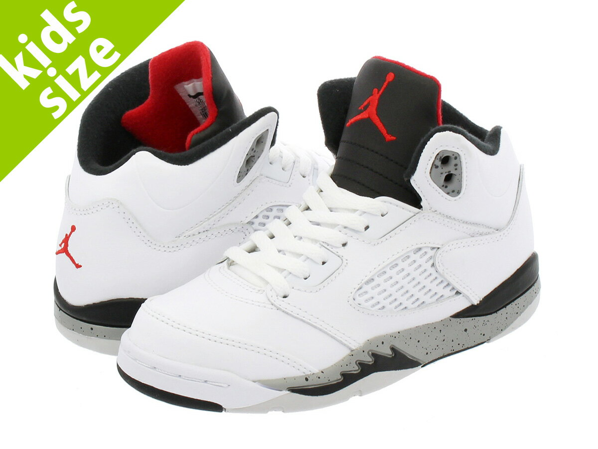 【キッズサイズ】【16-22cm】 NIKE AIR JORDAN 5 RETRO BP ナイキ エア ジョーダン 5 レトロ BP WHITE/UNIVERSITY RED/BLACK/METALLIC SILVER