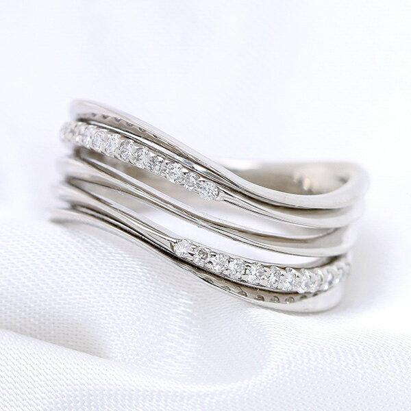 ダイヤモンド 0.150カラット 抑揚あるライン リング/指輪 K18 PG WG 18金 (※プラチナ対応可) 流線型に輝くダイヤモンド /白・透明(ホワイト)/受注生産品・新品/届30/送料無料 ギフト