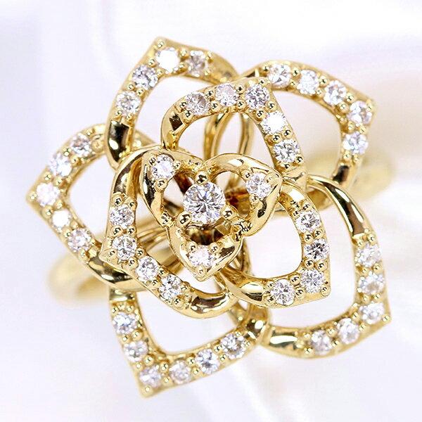 ダイヤモンド 0.40カラット 立体カメリア リング/指輪 K18 PG WG 18金 (※プラチナ対応可) ダイヤモンドが描くフラワーの輪郭 /白・透明(ホワイト)/受注生産品・新品/届30/送料無料 ギフト