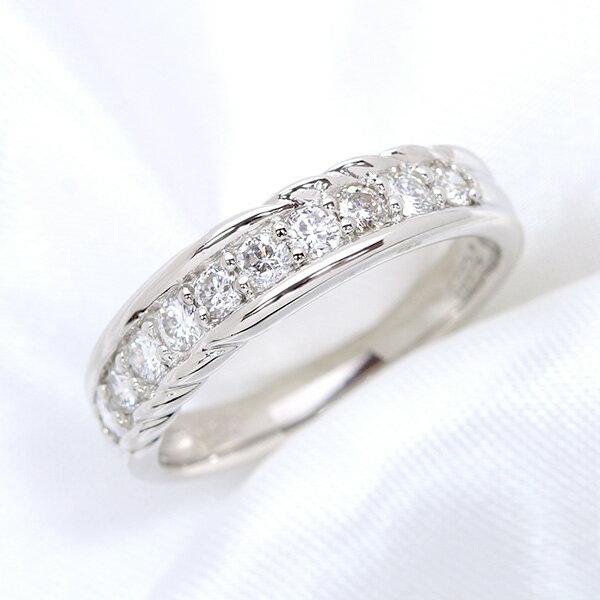 一文字・ハーフエタニティ ダイヤモンド 0.50カラット リング/指輪 K18 PG WG 18金 (※プラチナ対応可) 重ね付けにもお勧めです。 /白・透明(ホワイト)/受注生産品・新品/届30/送料無料 ギフト