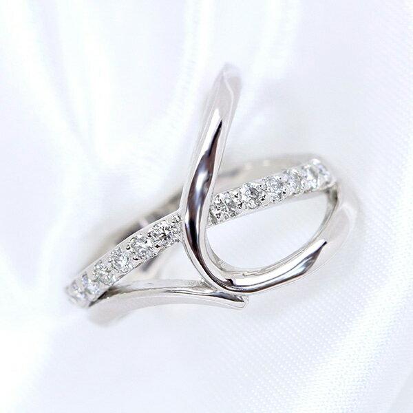 繊細さの中の重量感 ダイヤモンド 0.30カラット リング/指輪 K18 PG WG 18金 (※プラチナ対応可) アシンメトリデザインが上品 /白・透明(ホワイト)/受注生産品・新品/届30/送料無料 ギフト