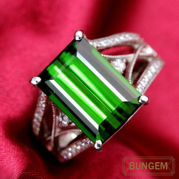 上質の美し過ぎるグリーン トルマリン 8.130カラット リング/指輪 プラチナ PT900 /緑(グリーン)/セレクトジュエリー・新品/届10/ラックジュエル luckjewel/