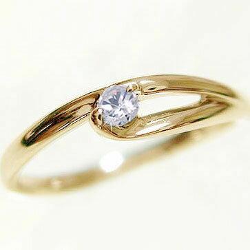 一粒ダイヤモンドリング:イエローゴールドk18/ピンキーリング/K18 指輪 ダイヤ:0.07ct【送料無料】
