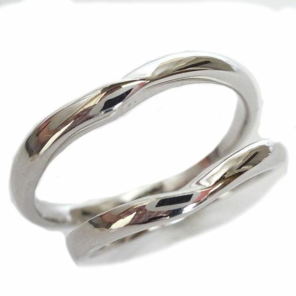 ホワイトゴールドk18 ペアリング ペア2本セット 結婚指輪 マリッジリング K18wg V字【送料無料】