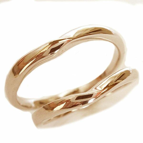 ピンクゴールドk18 ペアリング ペア2本セット 結婚指輪 マリッジリング K18pg V字【送料無料】