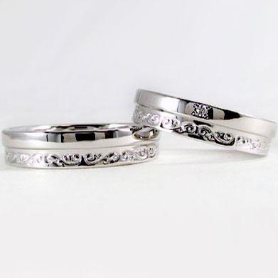 結婚指輪:ペアリング:マリッジリング:ペア2本セット:ダイヤモンド/Pt900指輪ダイヤ0.01ct