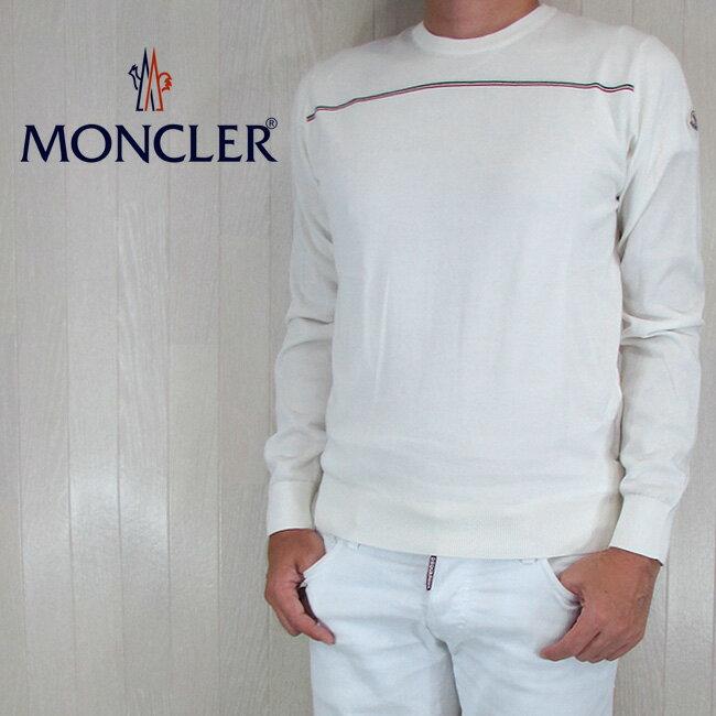 MONCLER モンクレール メンズ 長袖 クルーネック ニット カットソー ロングスリーブ  9014100 9099G/034/ホワイト サイズ:S/M/L/XL