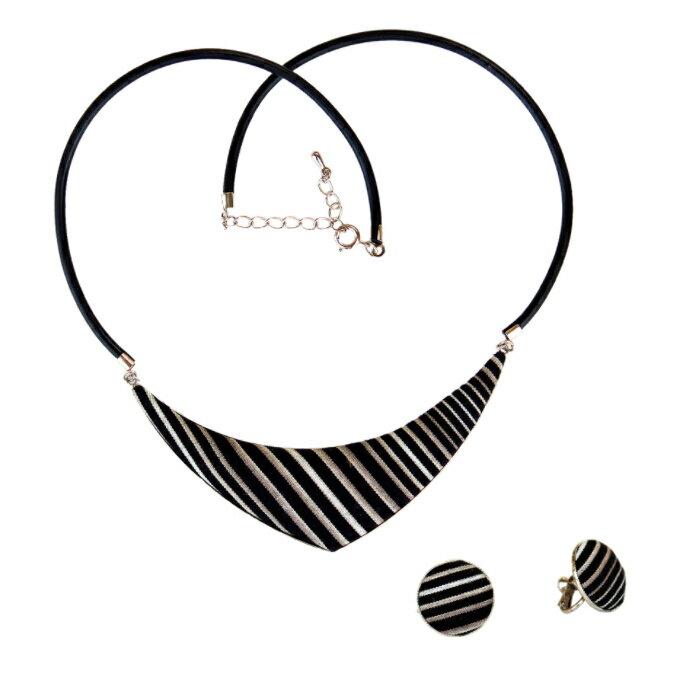 小倉織( こくらおり )ネックレス イヤリング セット 縞コロン