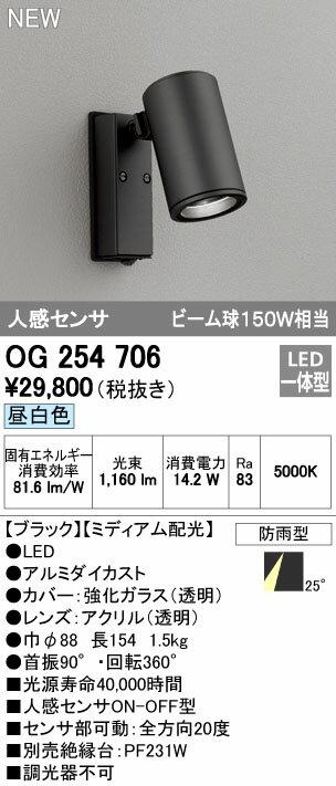 【最安値挑戦中!最大17倍】オーデリック OG254706 エクステリアスポットライト LED一体型 昼白色 人感センサ ミディアム配光 防雨型 [∀(^^)]