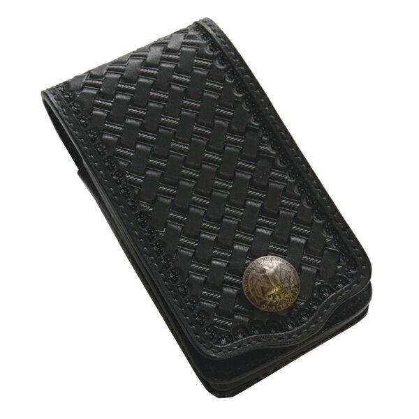 ハンドメイド レザーカービングiphoneホルダー(ブラック)・マチ付 国産サドルレザー 日本製 オーダーメイド承ります